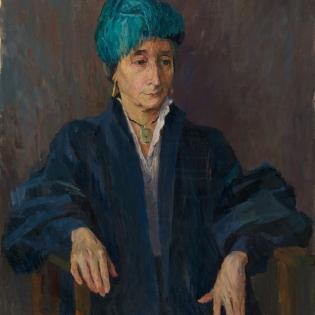 Portret van Grace Ketting met hoed met veren