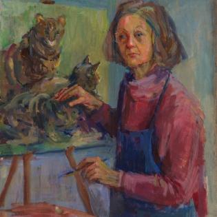 Zelfportret met drie katten