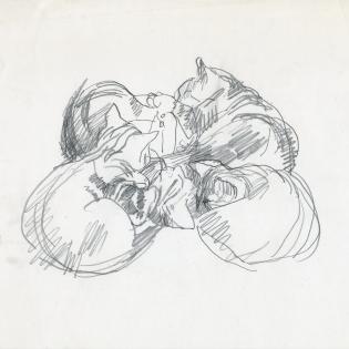 Jonge katten, detail uit een schetsblad
