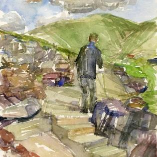 Willem werkend in Dunquin, Ierland