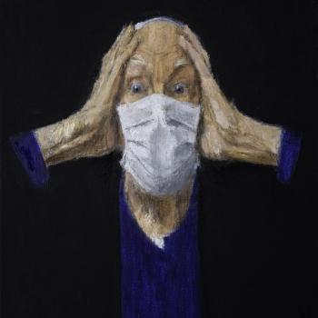 Zelfportret met mondkapje, 2019. Olieverf op doek.