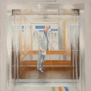 Zelfportret in ziekenhuislift